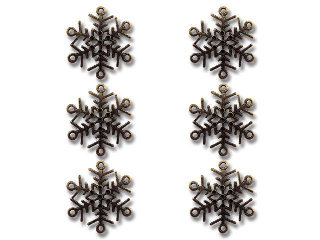 Vintage Metal Charms 6/Pkg-Bronze Let It Snow Snowflakes 1.2