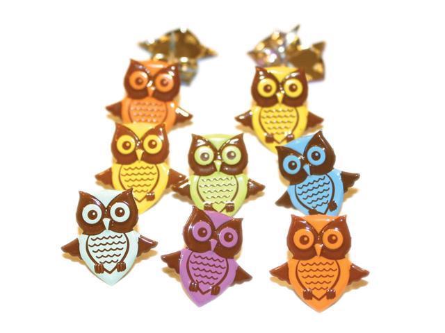 Eyelet Outlet Shape Brads-Owls Pastel