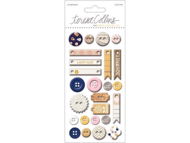Life Emporium Decorative Buttons & Chipboard-25 Pieces