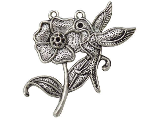 Silver Embellishments 10/Pkg-Bird & Rose
