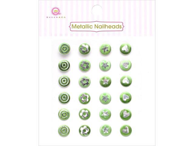 Metallic Silver Self-Adhesive Nailheads 24/Pkg-Green