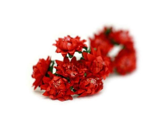 Vintage Tinsel Dahlias 10/Pkg-Red