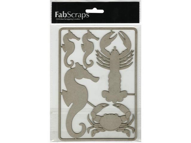 Die-Cut Gray Chipboard Embellishments-Seahorses, Lobster & Crab