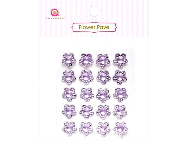 Flower Pave Adhesive Crystal Embellishments 20/Pkg-Purple