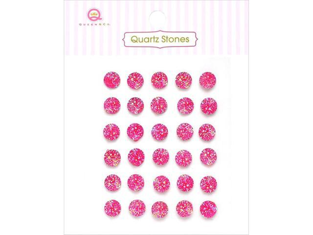 Quartz Stones Self-Adhesive Embellishments 30/Pkg-Hot Pink