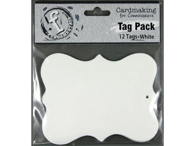 Fundamentals Tags 12/Pkg-Large Scallop/White