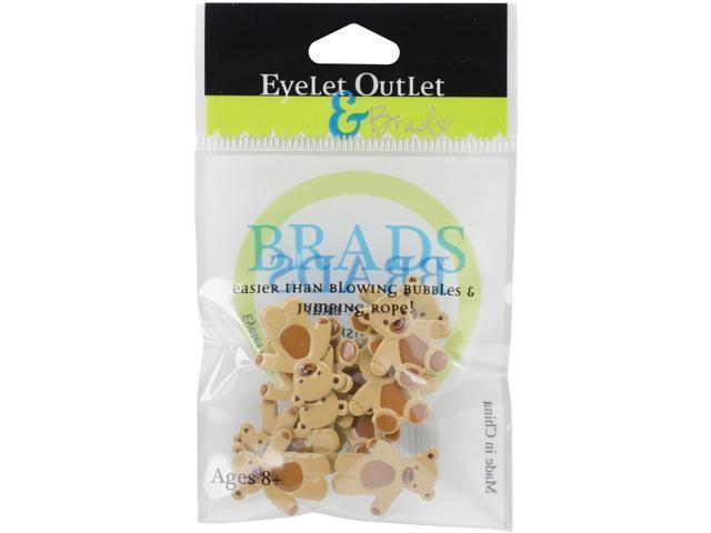Eyelet Outlet Shape Brads 12/Pkg-Brown Bear