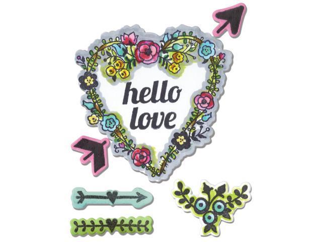 Sizzix Framelits Dies 7/Pkg W/Stamps -Hello Love