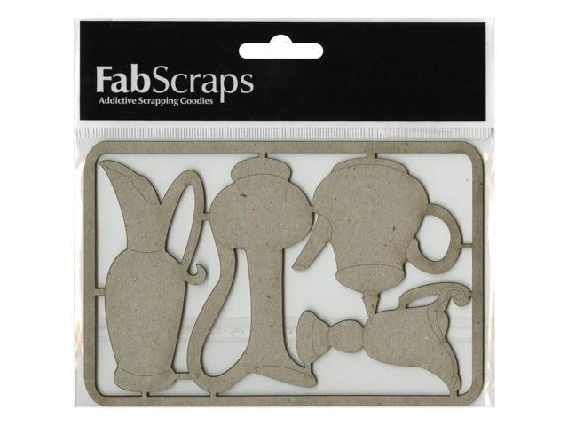 Die-Cut Gray Chipboard Embellishments-3 Jugs & Teapot, 3.5