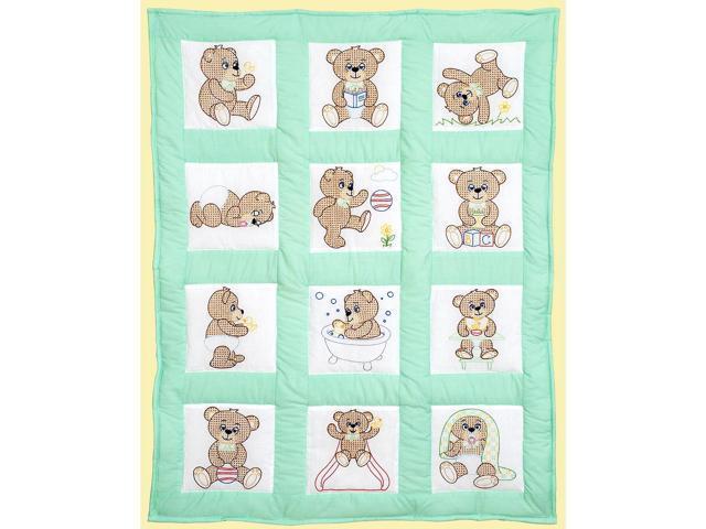 Jack Dempsey 300 892 Stamped White Quilt Blocks 9''X9'' 12/Pkg-Teddy Bears
