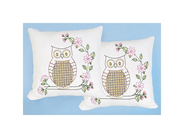 Jack Dempsey 663 588 Stamped White Pillowtops 15''X15'' 2/Pkg-Chicken Scratch Owls