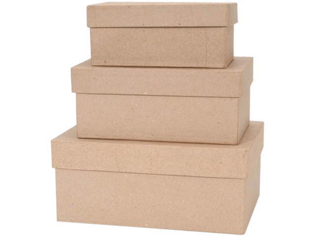 Darice 2849-03 Paper-Mache Rectangle Box Set 3/Pkg-4'', 5'' & 6''