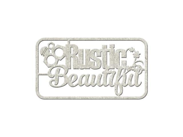 Die-Cut Gray Chipboard Word-Rustic Beautiful, 6