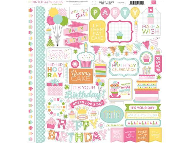 Birthday Wishes Girl Cardstock Stickers 12