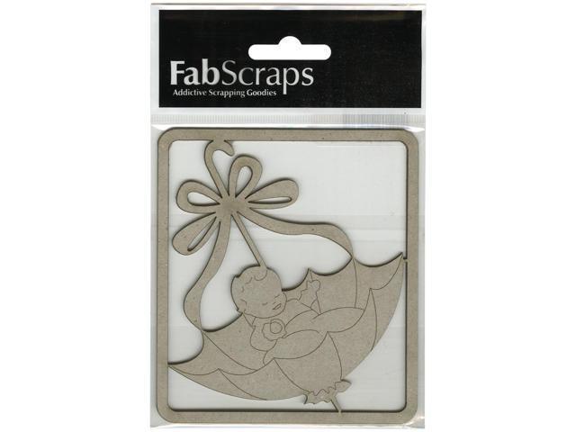Die-Cut Gray Chipboard Embellishments-Baby In Umbrella, 4