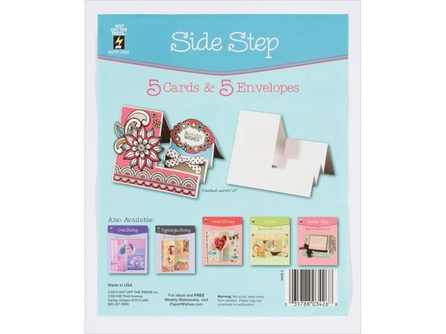 Hot Off The Press Die-Cut Cards W/Envelopes 5/Pkg-Side Step