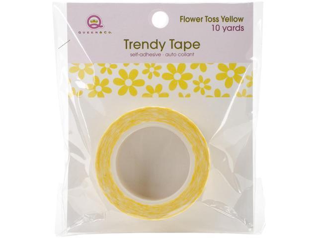 Queen & Co. Trendy Tape-Flower Toss Yellow