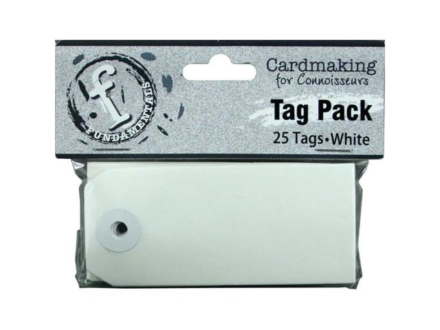 Fundamentals Tags 25/Pkg-Small Rectangle/White