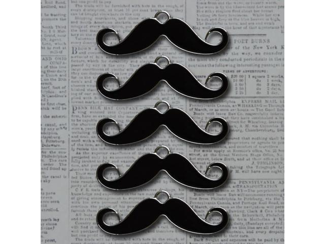 Vintage Metal Charms 5/Pkg-Licorice & Silver Sorry, I Mustache
