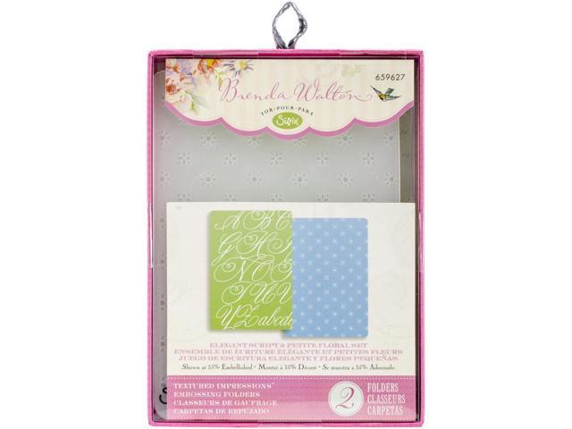 Sizzix Textured Impressions A6 Embossing Folders 2/Pkg-Elegant Script & Petite Floral