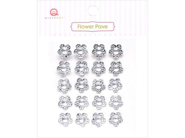 Flower Pave Adhesive Crystal Embellishments 20/Pkg-Clear