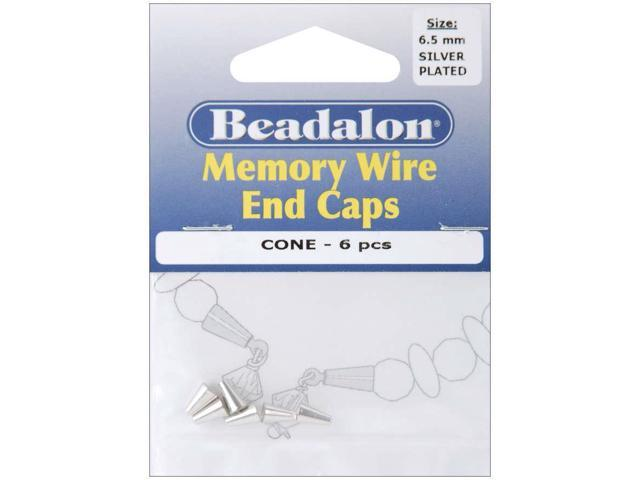 Memory Wire End Caps Cone 6.5mm 6/Pkg-Silver-Plated