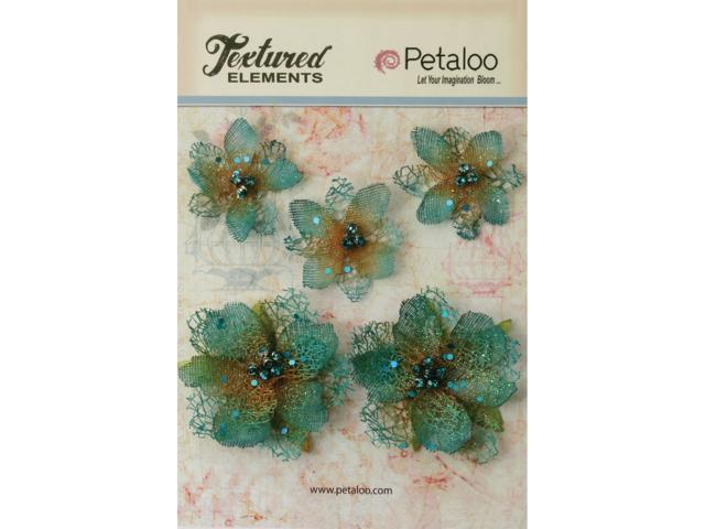 Textured Elements Jeweled Flowers 5/Pkg-Teal