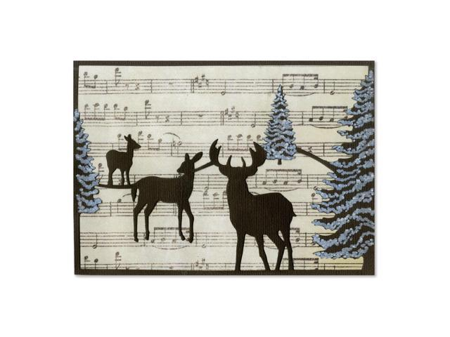 Sizzix Thinlits Die-Winter Deer Card Front For A6