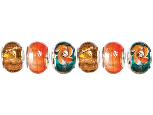 Trinkettes Glass, Metal & Clay Beads 6/Pkg-Orange & Teal Swirl