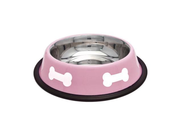 Fashion Steel Bowl Pink W/White Bones 16Oz-