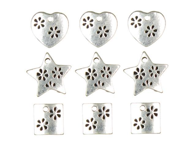 Jewelry Basics Metal Charms-Silver Hearts, Stars & Squares 9/Pkg