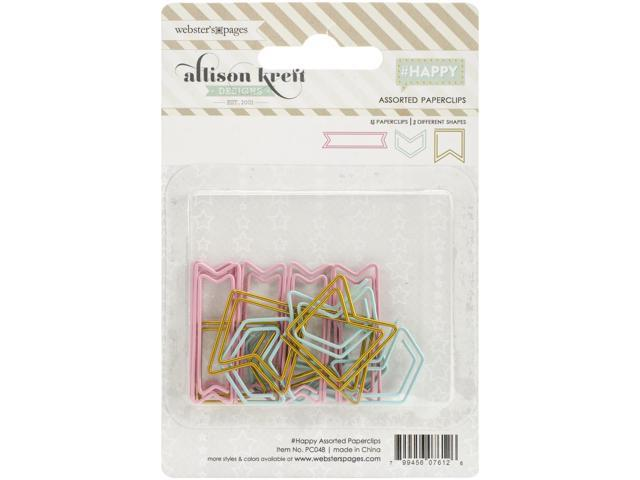 #Happy Shaped Paper Clips Assorted 15/Pkg-Teal Arrows, Gold Flags & Pink Banners