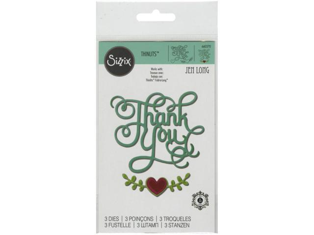 Sizzix Thinlits Dies 3/Pkg-Thank You W/Hearts