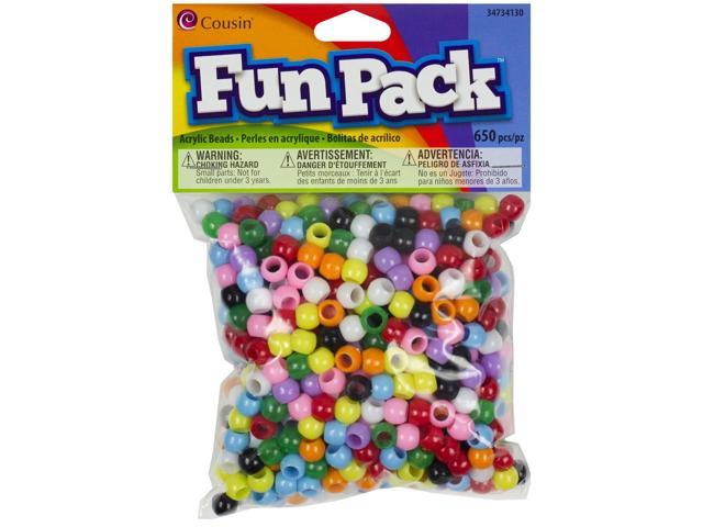 Fun Pack Acrylic Pony Beads 650/Pkg-Assorted Colors