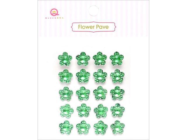 Flower Pave Adhesive Crystal Embellishments 20/Pkg-Green