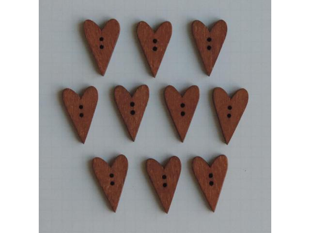 Wooden Buttons 10/Pkg-Stained Hearts .5