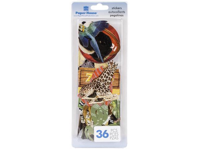Paper House Die-Cut Stickers 36/Pkg-Zoo