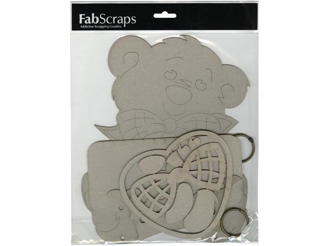 Die-Cut Gray Chipboard Plaque-Teddy Bear, 10.5