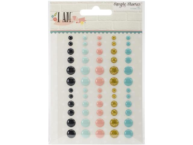 I Am Enamel Dots Embellishments 60/Pkg-5 Colors & 3 Sizes