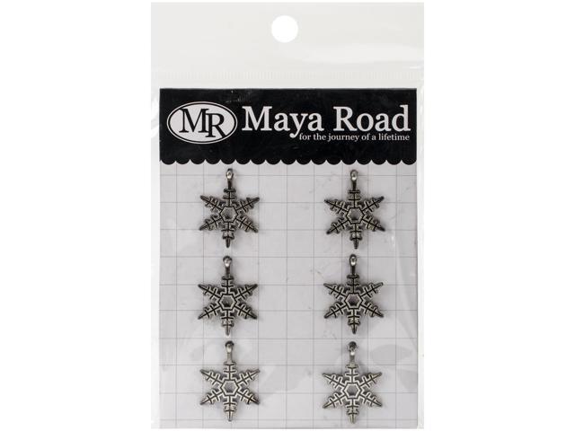 Vintage Metal Charms 6/Pkg-Silver Bells Snowflakes .7