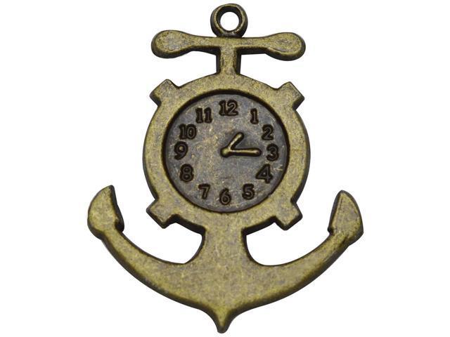 Brass Embellishments 20/Pkg-Anchor Clock