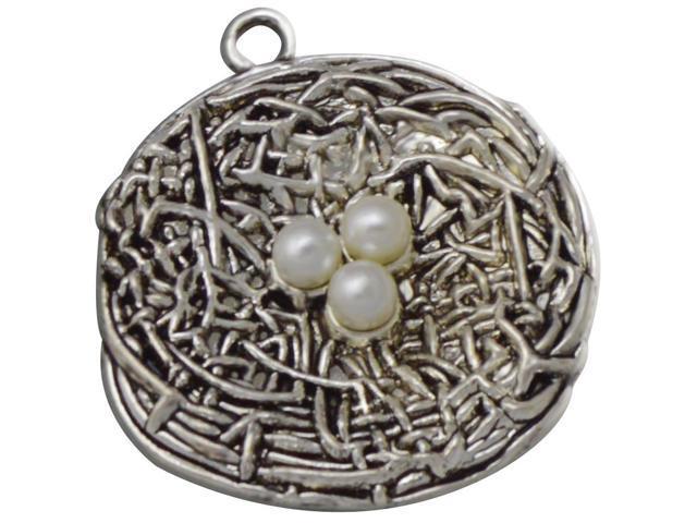 Silver Embellishments 8/Pkg-Bird Nest Large