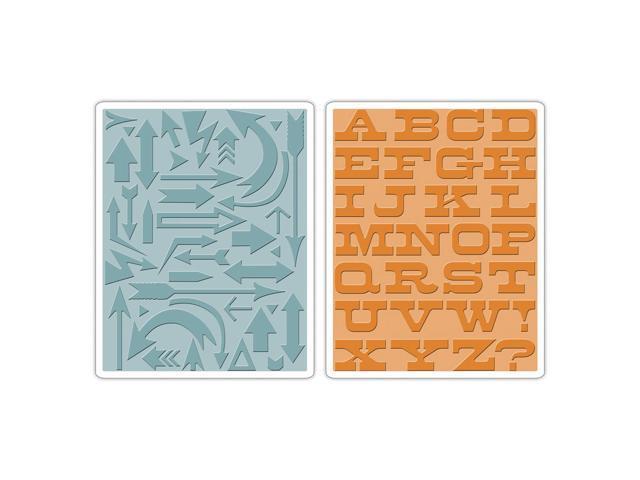 Sizzix Texture Fades A2 Embossing Folders 2/Pkg-Arrows & Boardwalk By Tim Holtz