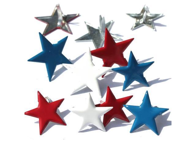 Eyelet Outlet Shape Brads 12/Pkg-Stars - Red, White & Blue