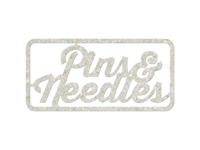 Die-Cut Gray Chipboard Word-Pins & Needles, 5