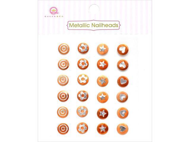 Metallic Silver Self-Adhesive Nailheads 24/Pkg-Orange