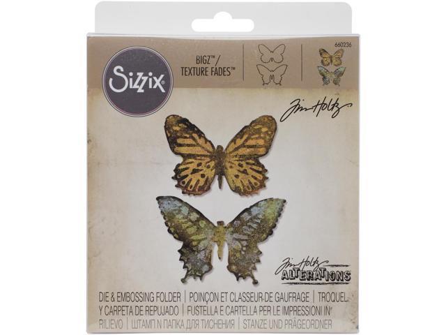 Sizzix Bigz Die W/A2 Texture Fades Folder By Tim Holtz-Butterfly Duo