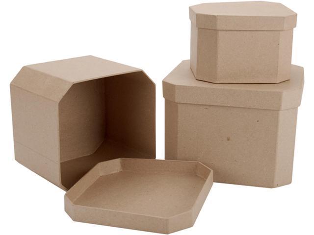 Paper Mache French Corner Square Box Set Of 3-7-1/2