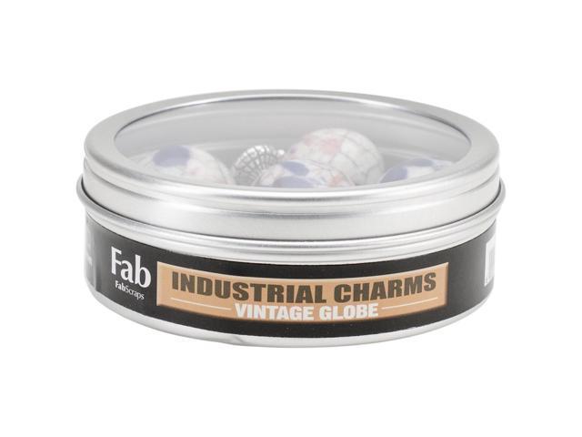 Silver Embellishments 6/Pkg -Vintage Globe