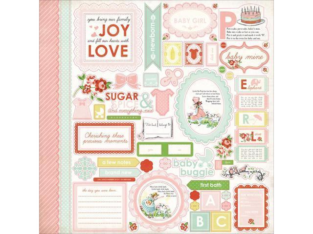Baby Mine Girl Cardstock Stickers 12